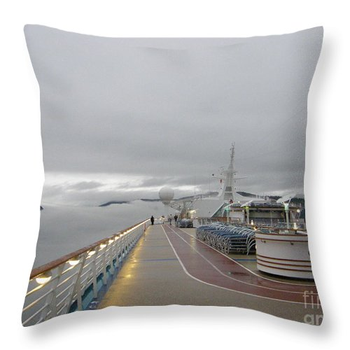 Explorer Of The Seas Throw Pillow featuring the photograph Cruising In The Fog 3 by Trish H