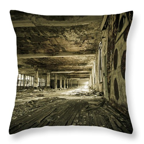 Packard Automotive Plant Throw Pillow featuring the photograph Crumbling History by Priya Ghose