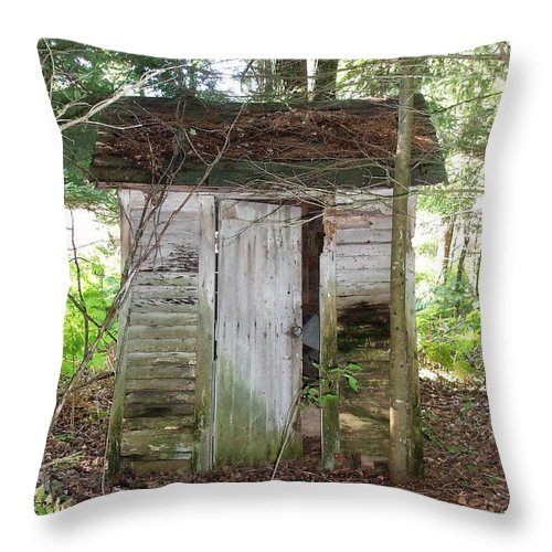 People Throw Pillow featuring the photograph Crumbling Old Outhouse by Susan Wyman