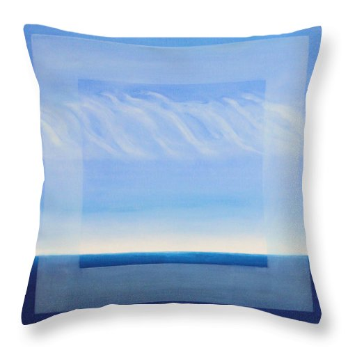 Greece Throw Pillow featuring the painting Crystal Blue Horizon - Center Panet by Diana Perfect