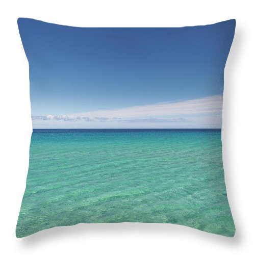 Canary Island Throw Pillow featuring the photograph Crystal Blue Water With Nobody, No by Mauro Ladu