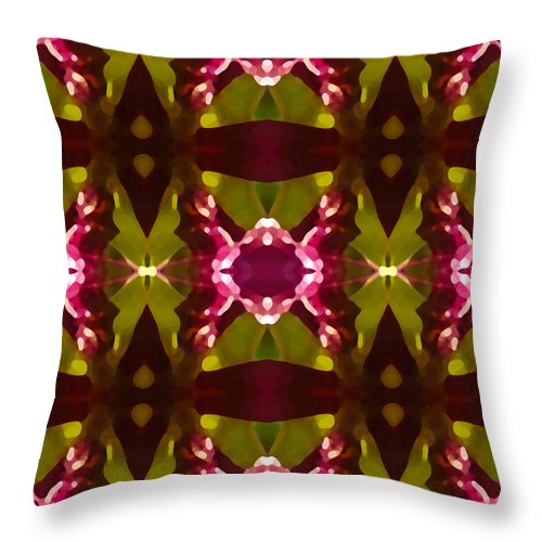Abstract Throw Pillow featuring the painting Crystal Butterfly Pattern by Amy Vangsgard