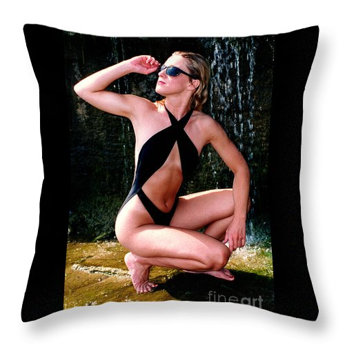 Model Throw Pillow featuring the photograph Crystal Slingsuit by Gary Gingrich Galleries