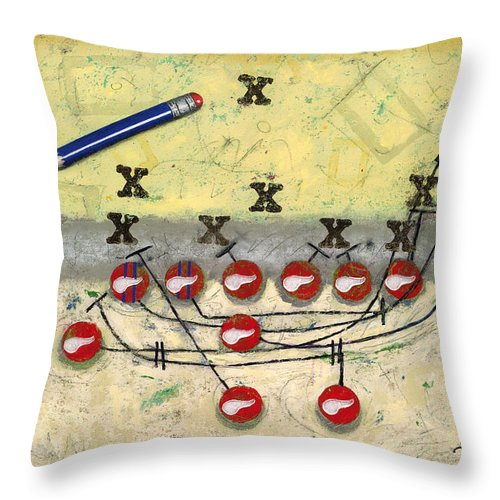 Football Throw Pillow featuring the painting Cs - 6 by John Sheppard