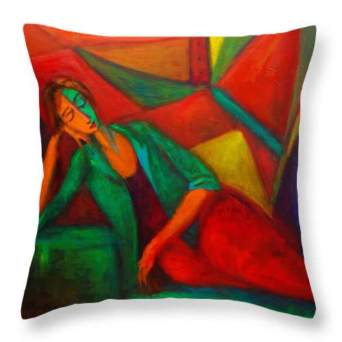 Cubism Throw Pillow featuring the painting Cubism Contemplation by Marina R Burch