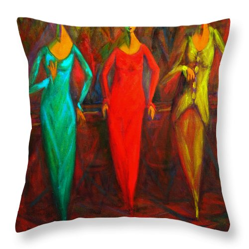 Cubism Throw Pillow featuring the painting Cubism Dance II by Marina R Burch