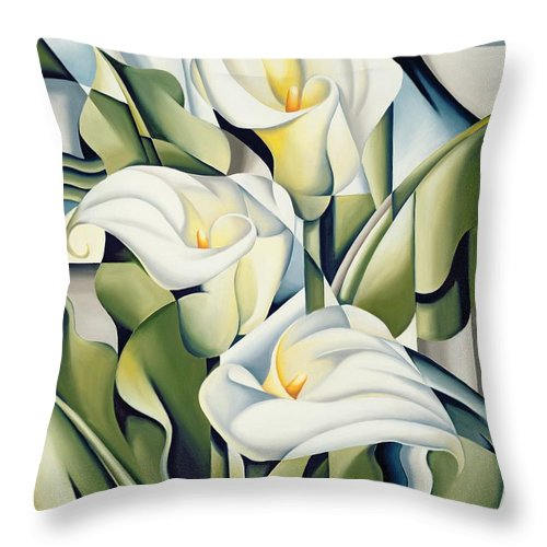 Cubist Throw Pillow featuring the painting Cubist lilies by Catherine Abel