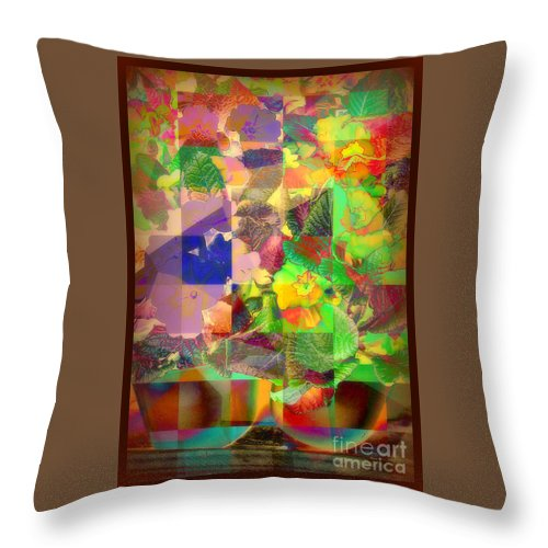 Still Life Throw Pillow featuring the photograph Flowers In Round Bowls - Outdoor Markets Of New York City by Miriam Danar