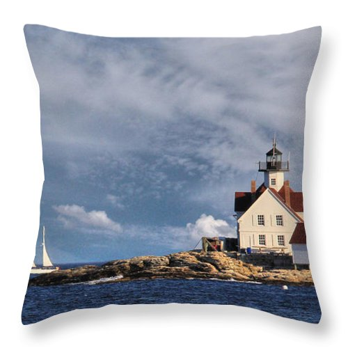 The Cuckolds Throw Pillow featuring the photograph Cuckolds Light by Lori Deiter