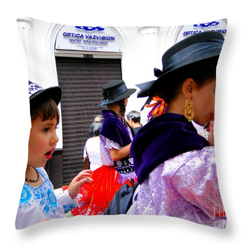 Hat Throw Pillow featuring the photograph Cuenca Kids 239 by Al Bourassa