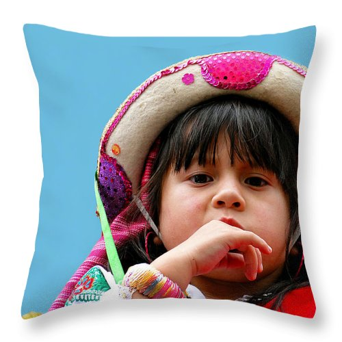 Girl Throw Pillow featuring the photograph Cuenca Kids 297 by Al Bourassa