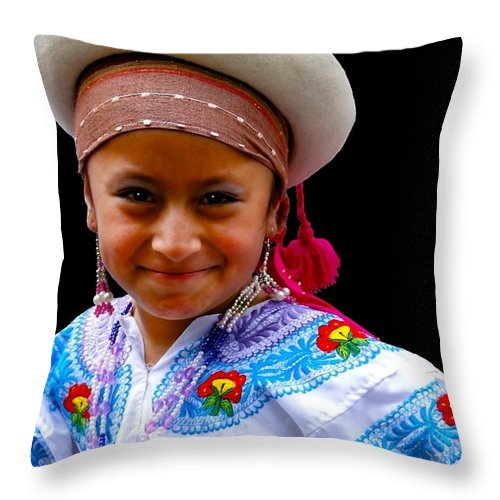 Girl Throw Pillow featuring the photograph Cuenca Kids 314 by Al Bourassa