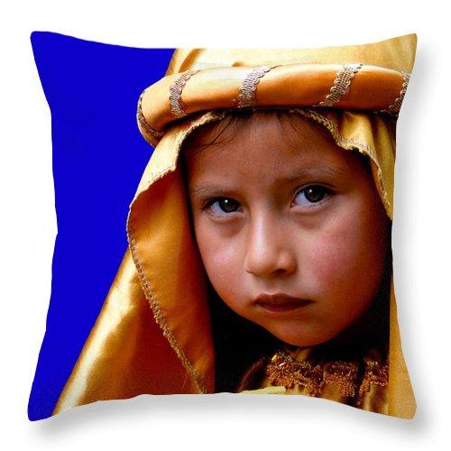 Boy Throw Pillow featuring the photograph Cuenca Kids 315 by Al Bourassa
