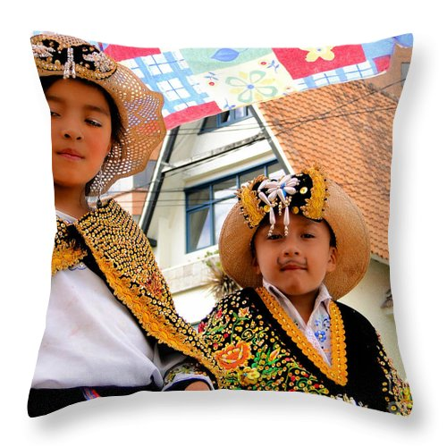 Boy Throw Pillow featuring the photograph Cuenca Kids 493 by Al Bourassa
