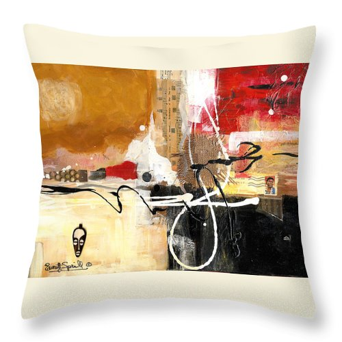 Everett Spruill Throw Pillow featuring the painting Cultural Abstractions - Hattie McDaniels by Everett Spruill