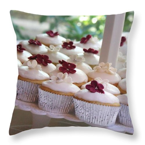 Dessert Throw Pillow featuring the photograph Cupcakes by Valerie Loop