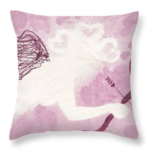 Cupid Throw Pillow featuring the painting Cupid by April Kasper