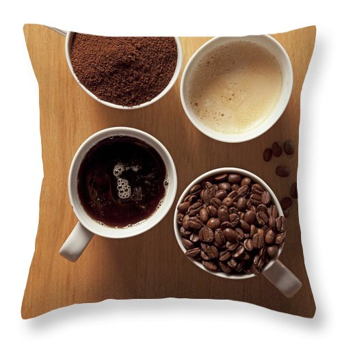 Shadow Throw Pillow featuring the photograph Cups Of Coffee And Coffee Beans by Larry Washburn