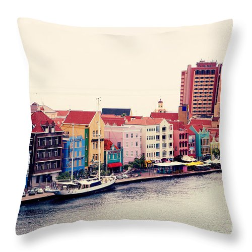 Willemstad Throw Pillow featuring the photograph Curacao by Kim Fearheiley