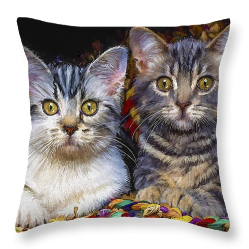 Cat Throw Pillow featuring the painting Curious Kitties by David Wagner