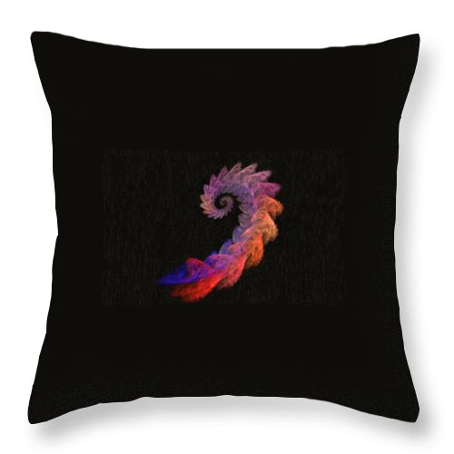 Digital Art Throw Pillow featuring the digital art Curly Swirl - Digital Painting Effect by Rhonda Barrett