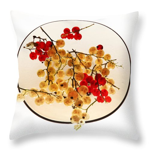 Berry Throw Pillow featuring the photograph Currants On A Plate by Vitaliy Gladkiy