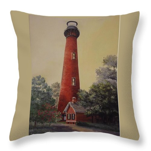 Lighthouse Throw Pillow featuring the painting Currituck Lighthouse by Wanda Dansereau