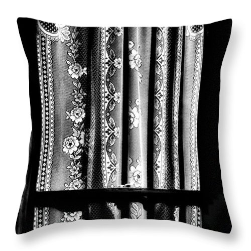 Newel Hunter Throw Pillow featuring the photograph Curtain In Black And White by Newel Hunter