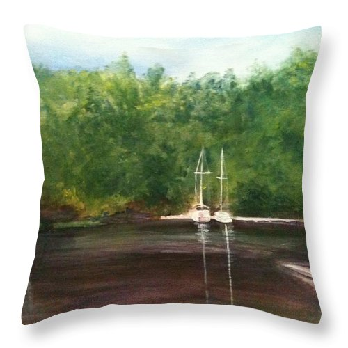 Plein Aire Throw Pillow featuring the painting Curtain's Marina by Sheila Mashaw
