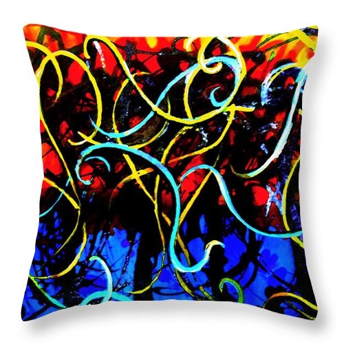 Abstract Throw Pillow featuring the digital art Curvy by Art by Kar