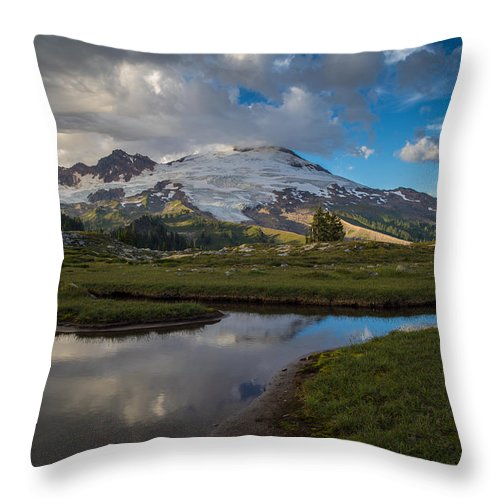 Baker Throw Pillow featuring the photograph Curvy Baker Tarn Reflection by Mike Reid