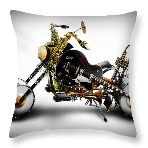Bike Throw Pillow featuring the digital art Custom Band II by Alessandro Della Pietra
