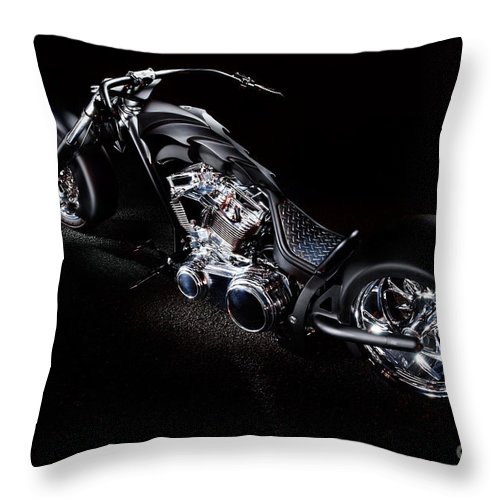 Harley Throw Pillow featuring the photograph Custom Chopper by Frank Kletschkus
