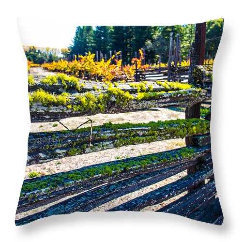 Napa Throw Pillow featuring the photograph Custom Fence Line In Napa by Brian Williamson