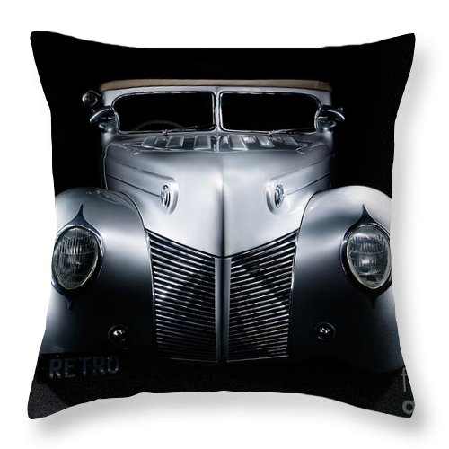 Silver Throw Pillow featuring the photograph Custom Ford Coupe by Frank Kletschkus