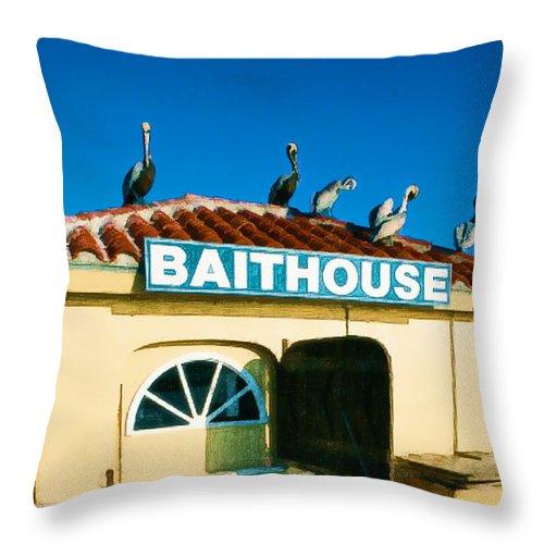 Birds Pelicans Shack Store Shop Bait House Baithouse Bait+house Pier Ocean Sea Beach Seashore Throw Pillow featuring the painting Customers At The Baitshop by Elaine Plesser