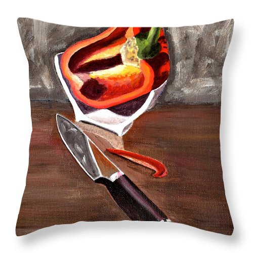 Still Life Throw Pillow featuring the painting Cut In Half by Laura Forde