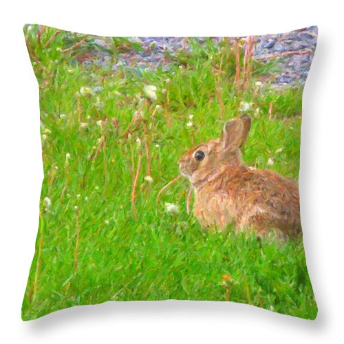 Bunny Throw Pillow featuring the photograph Cute And Fluffy - Digital Painting Effect by Rhonda Barrett