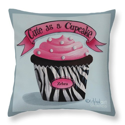 Art Throw Pillow featuring the painting Cute As A Cupcake by Catherine Holman