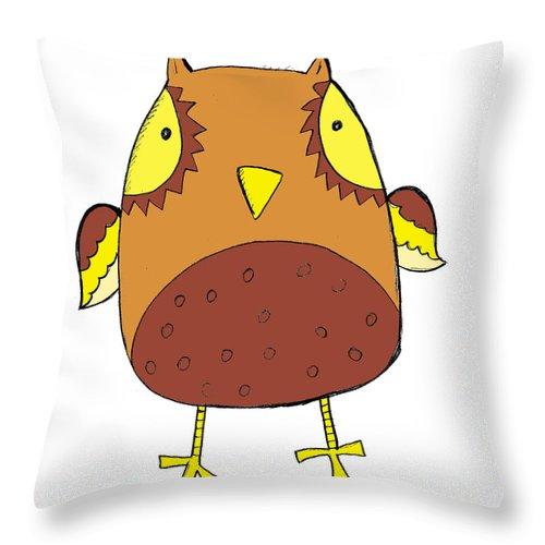 Cute Owl Throw Pillow featuring the digital art Cute Brown Owl by Svetlana Peskin