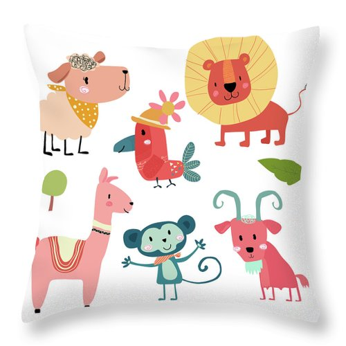 Pets Throw Pillow featuring the digital art Cute Hand Draw Wild Animal Cartoon by Natsicha