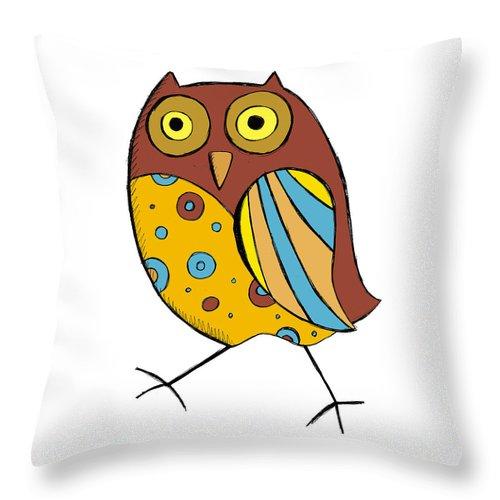 Owl Throw Pillow featuring the digital art Cute Owl by Svetlana Peskin