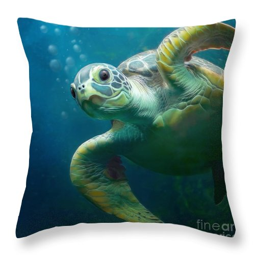 Ocean Throw Pillow featuring the painting Bubbles The Cute Sea Turtle by Silvio Schoisswohl