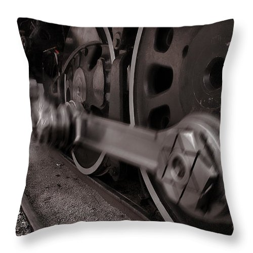 Union Pacific Throw Pillow featuring the photograph Cutting Through The Steam by Ken Smith