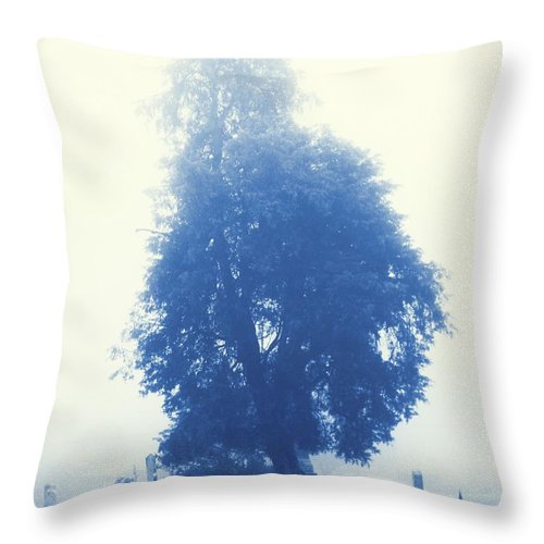 Cyanotype Cemetery Throw Pillow featuring the photograph Cyanotype Cemetery by Dan Sproul