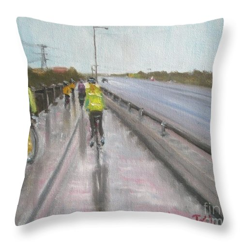Bicycle Throw Pillow featuring the painting Cycle Club by Laura Toth