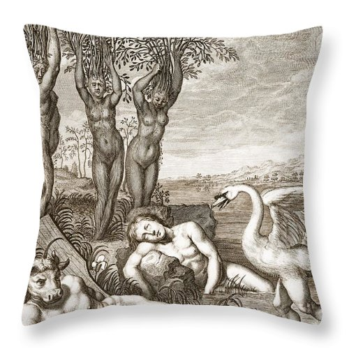 Metamorphosis Throw Pillow featuring the drawing Cygnus Transformed Into A Swan by Bernard Picart