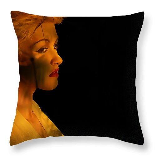 Vocals Photographs Throw Pillow featuring the mixed media Cyndi Lauper Painting by Marvin Blaine