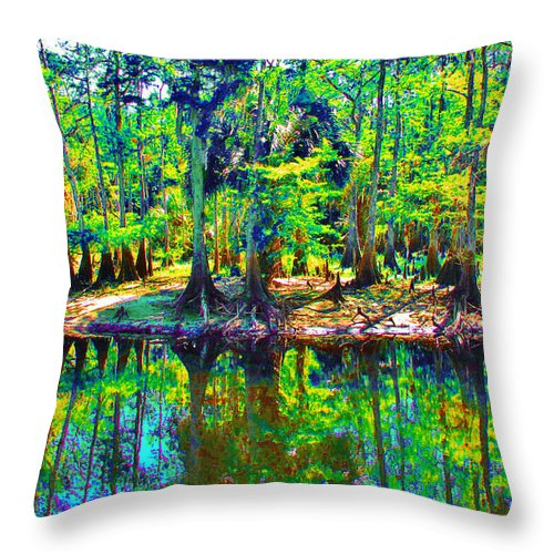 Keri West Throw Pillow featuring the photograph Cypress Coast by Keri West