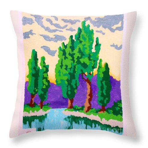 Original Throw Pillow featuring the painting Cypress River by Roberto Prusso